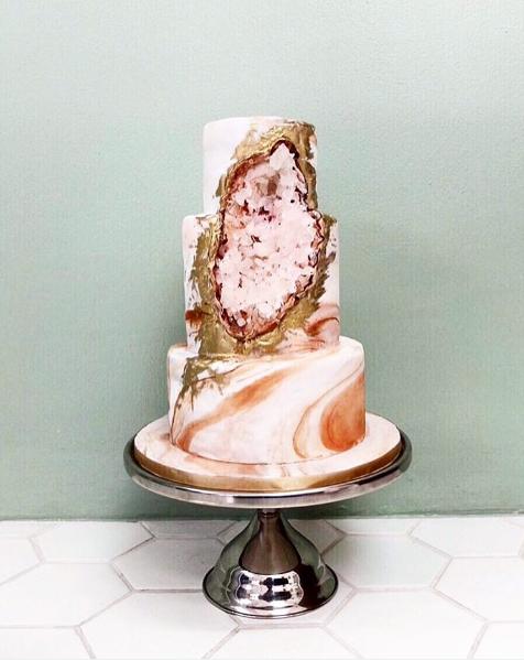 Pink Geode Cake