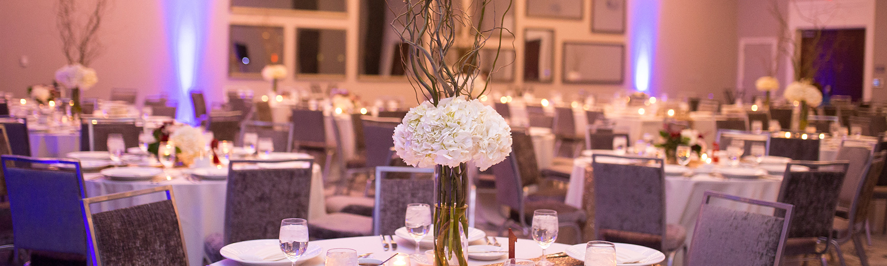 Ballroom with tables and centerpieces