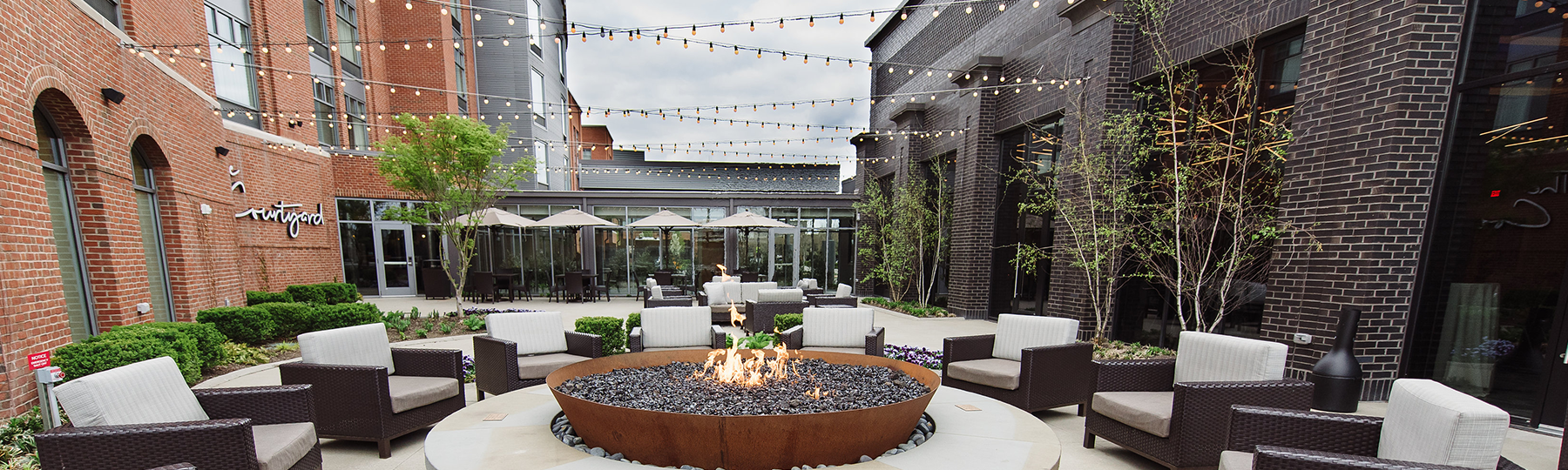 Outdoor patio event space with firepit